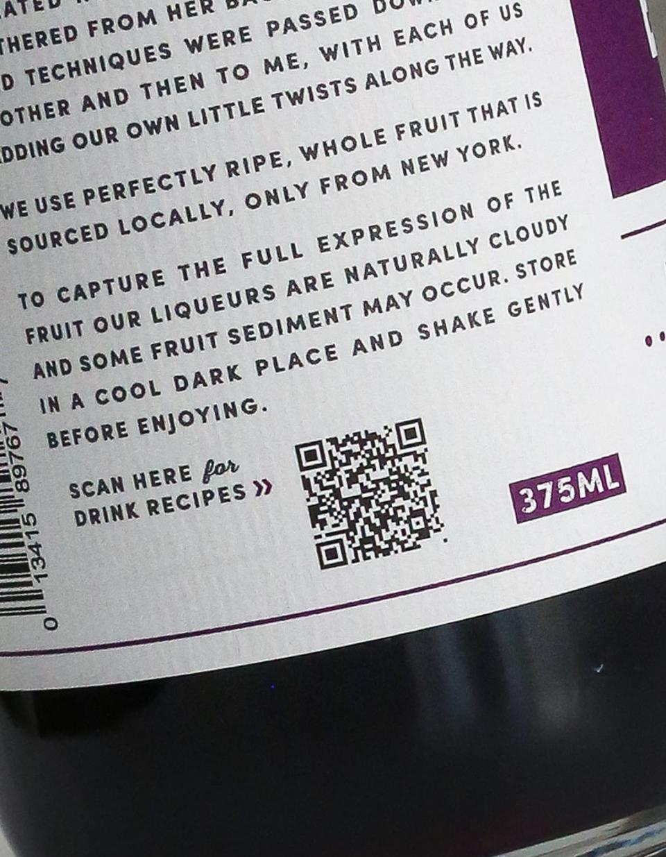 The QR codes on Heimat fruit liqueur bottles take consumers right to recipes.