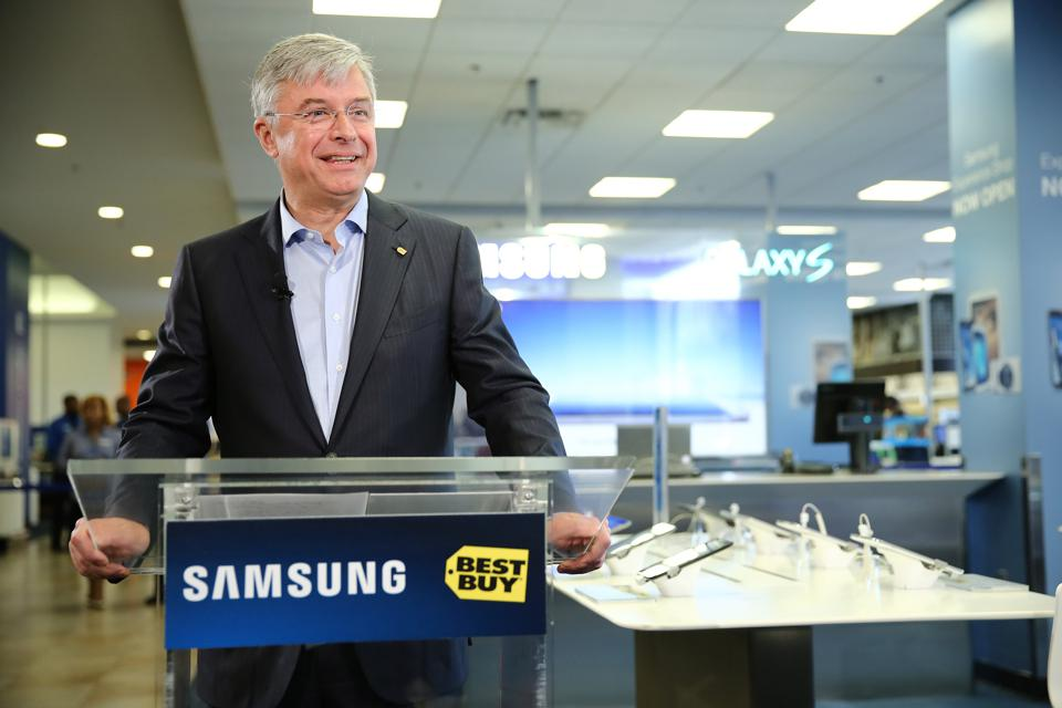 Samsung Experience Shop Opening With Samsung Mobile CEO JK Shin And Best Buy CEO Hubert Joly