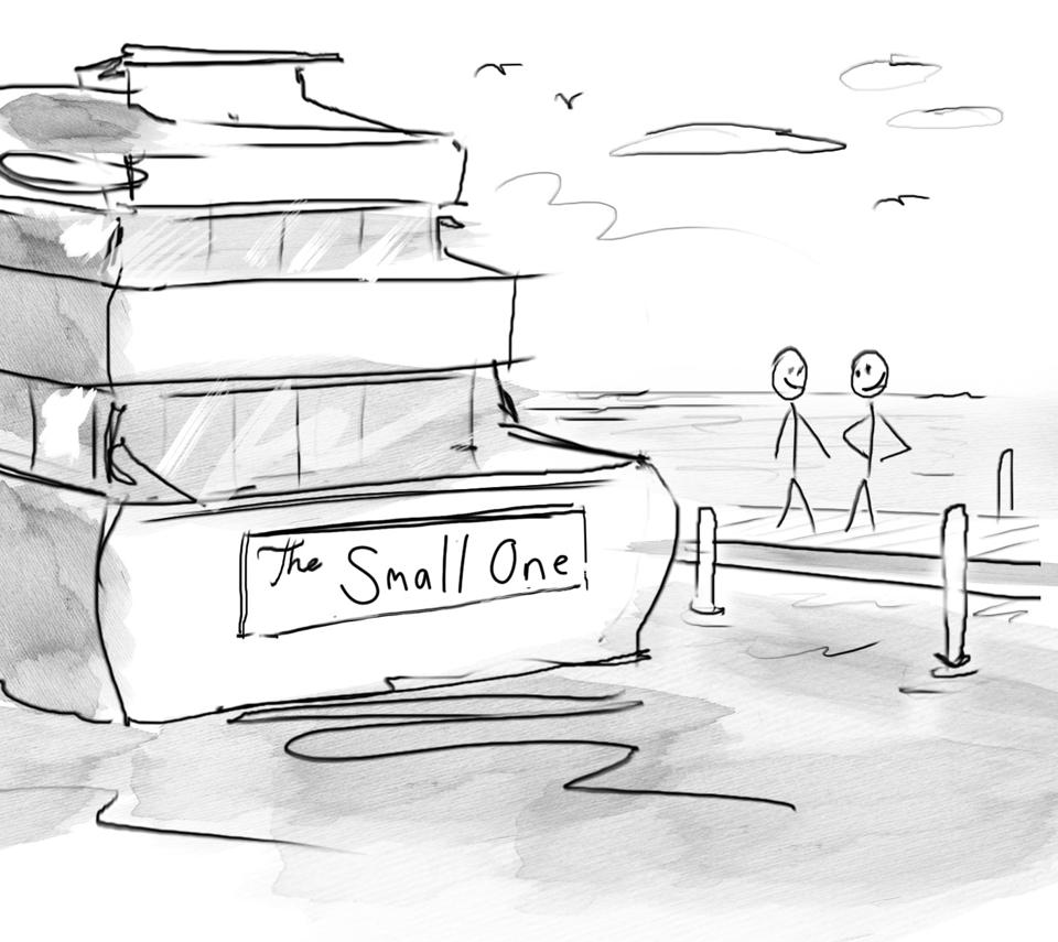 Two smiling people on a dock admiring a giant yacht with the plaque name reading: ″The small one″