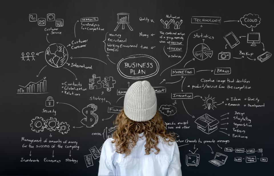 Female entrepreneur looking at the business plan on a blackboard