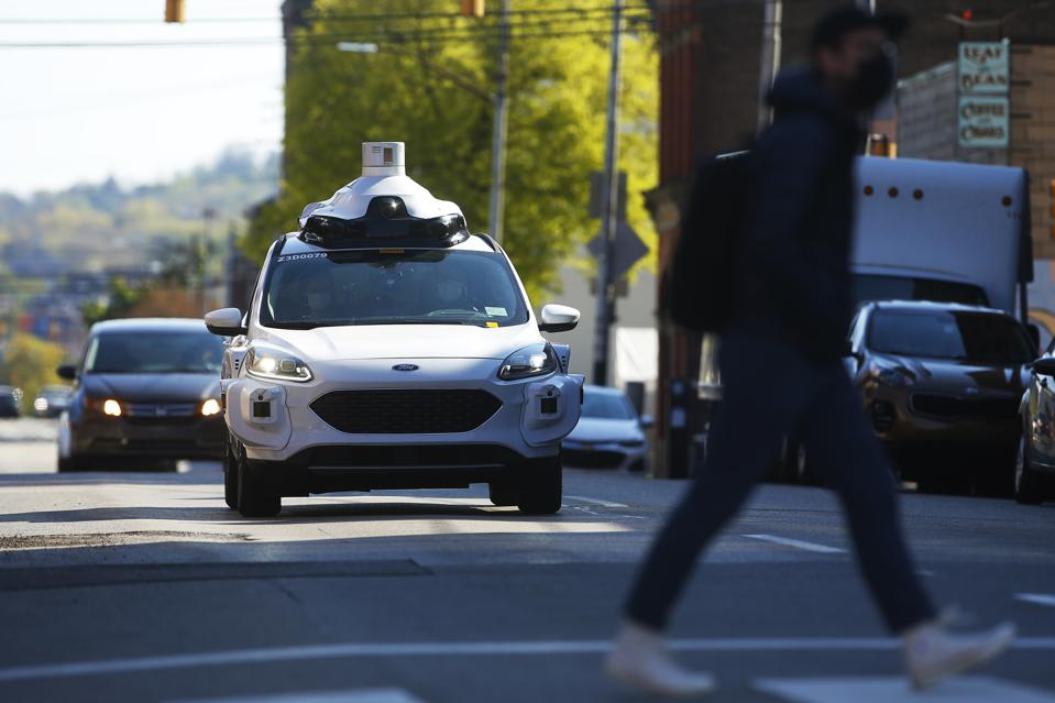 AI Argo in the Strip District on Monday April 26, 2021 in Pittsburgh, Pennsylvania equipped with Argo lidar. (Photo by Jared Wickerham/For AI Argo)