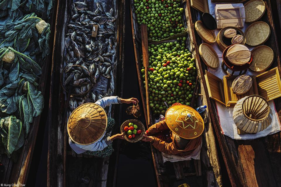 A colorful floating market