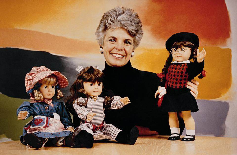 Founder Pleasant Rowland with American Girl Dolls