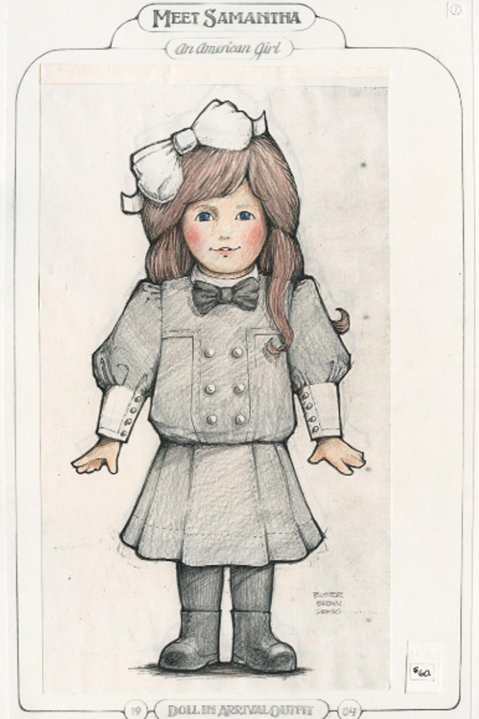 A sketch of a doll from the American Girl series