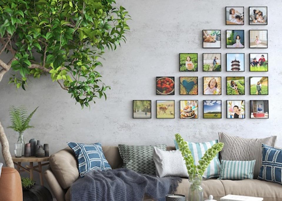 Mixtiles photos on the wall