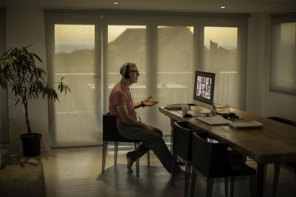 Businessman on video call from home during lockdown