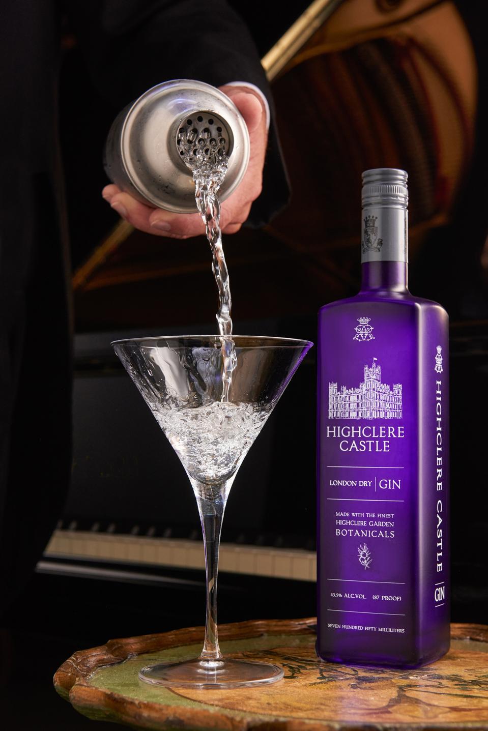 martini bottle glass and shaker