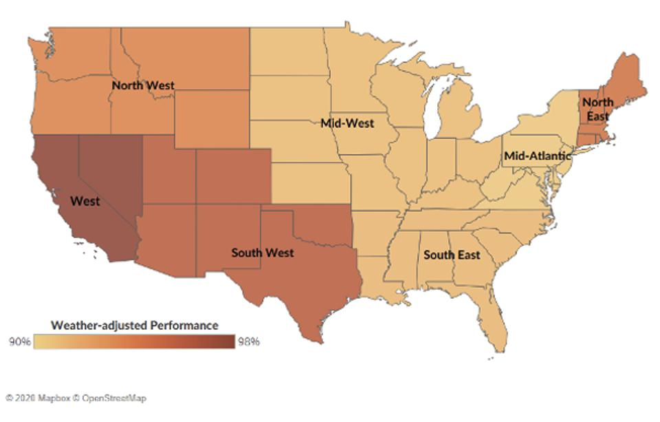 Weather adjusted performance by region in the US.