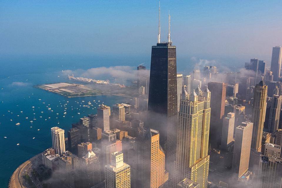John Hancock Center In City Against Sky