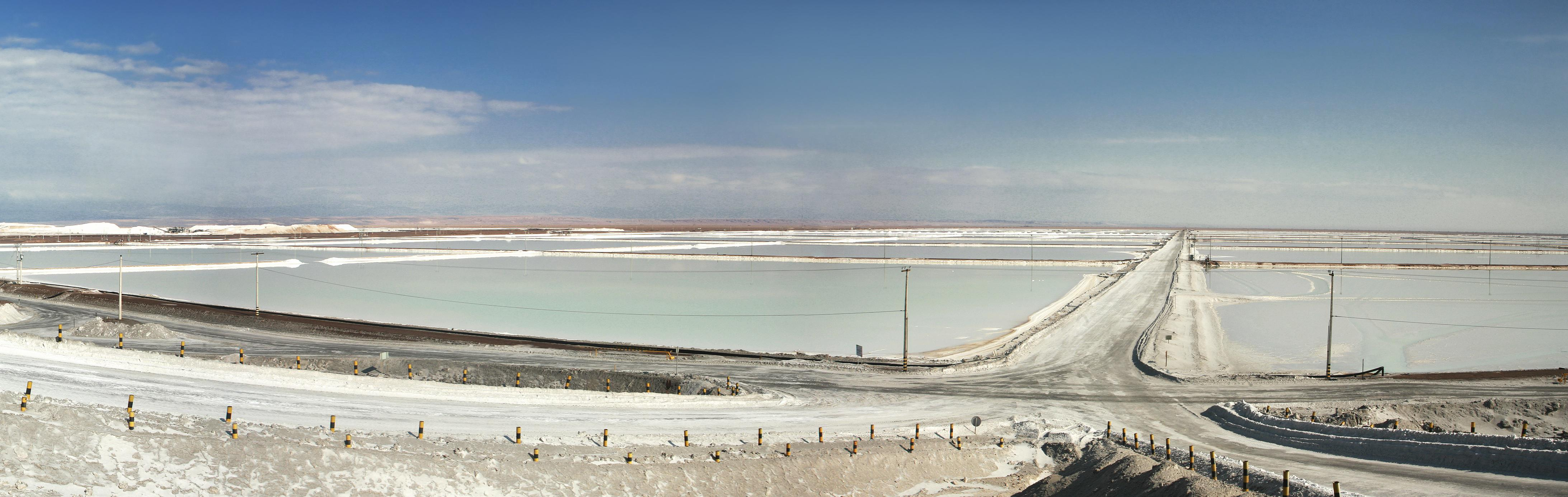 The Salar de Atacama salt flat in the Andes mountain range in Chile is one of the largest reserves of lithium-brine in the world.