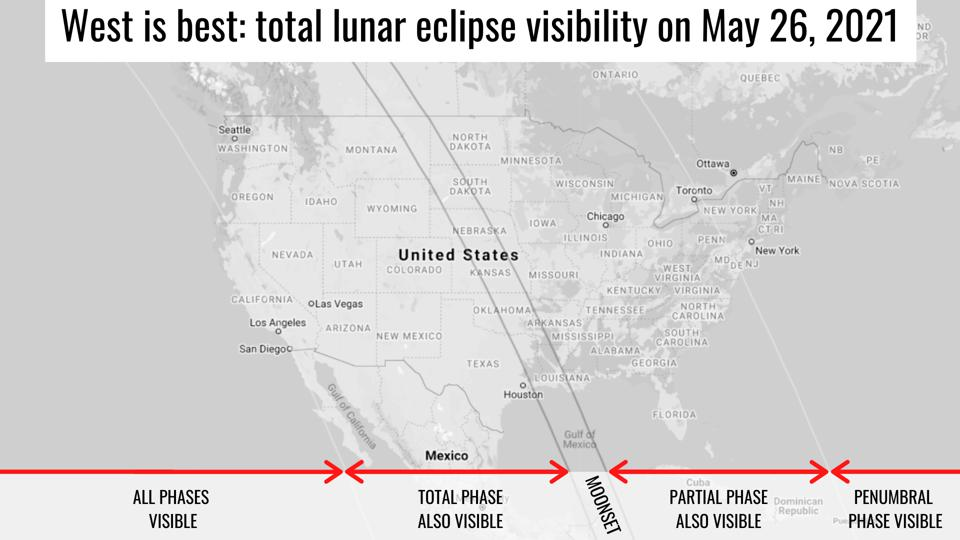Total lunar eclipse visibility on May 26, 2021.