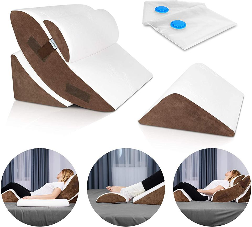 The Best Sleep Aids For A Good Night's Rest: Lunix LX5 4pcs Orthopedic Bed Wedge Pillow Set