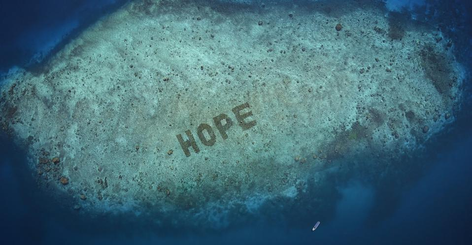 Shot by a drone, the word ″HOPE″ is spelled out in green letters in a shallow part of the sea with only sparse coral cover. Deeper, bluer waters surround the area and at the bottom of the frame there's a boat that is about a third of the length of one of the letters.