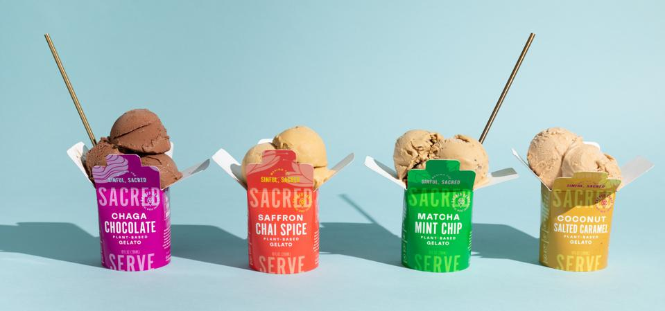 Four open ice cream pints from Sacred Serve's Variety Pack.
