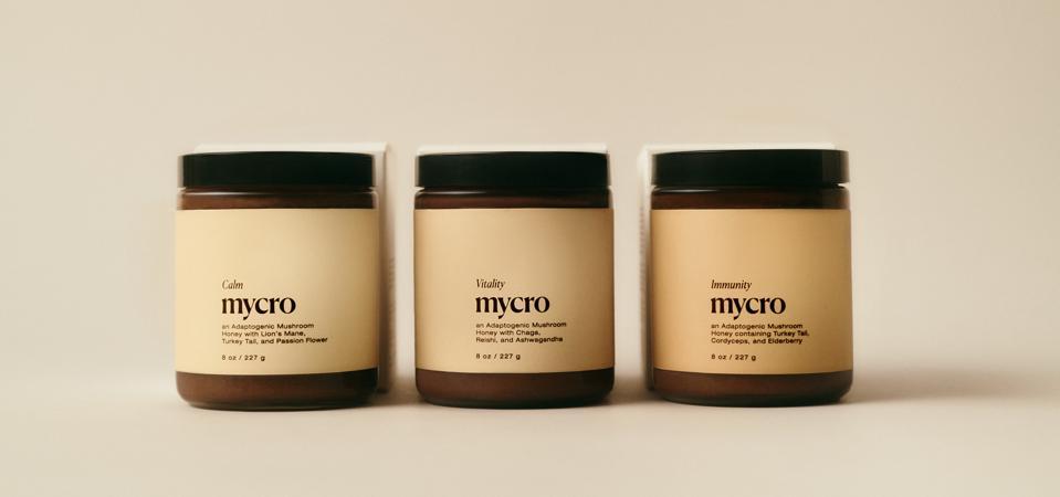 Three jars of Mycro adaptogenic honeys.