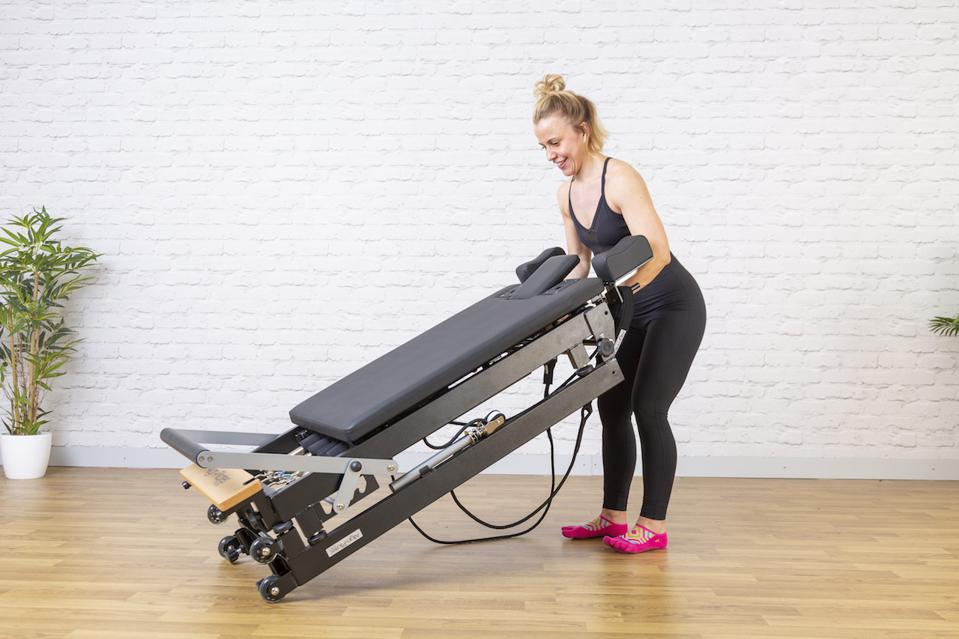 Lightweight, foldable Pilates equipment from Pilates Connector are ideal for compact living spaces.