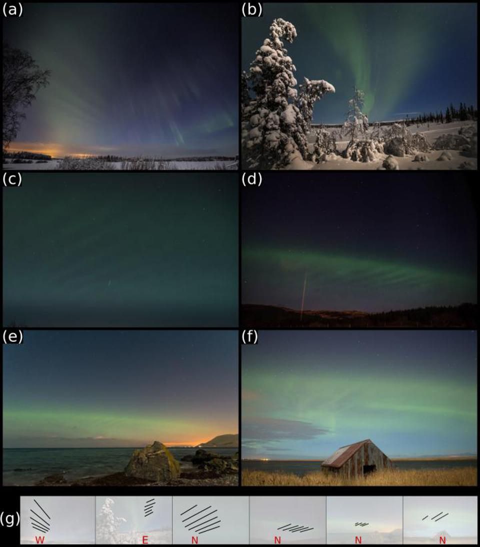 Places and photographers associated with the images: (a) Aura, Finland, Jukka Hilska; (b) Engerdal, Norway, Knut Holmseth; (c) Karmøy, Norway, Kjetil Vinorum; (d) Isle of Mull, Scotland, Barry Whenman; (e) Lendalfoot, Scotland, Mark Ferrier, and (f) Rattray, Scotland, Graeme Whipps. The bottom row shows the same pictures with annotations indicating the cardinal directions and the most prominent dune elements. (figure reproduced from Grandin et al., 2021)