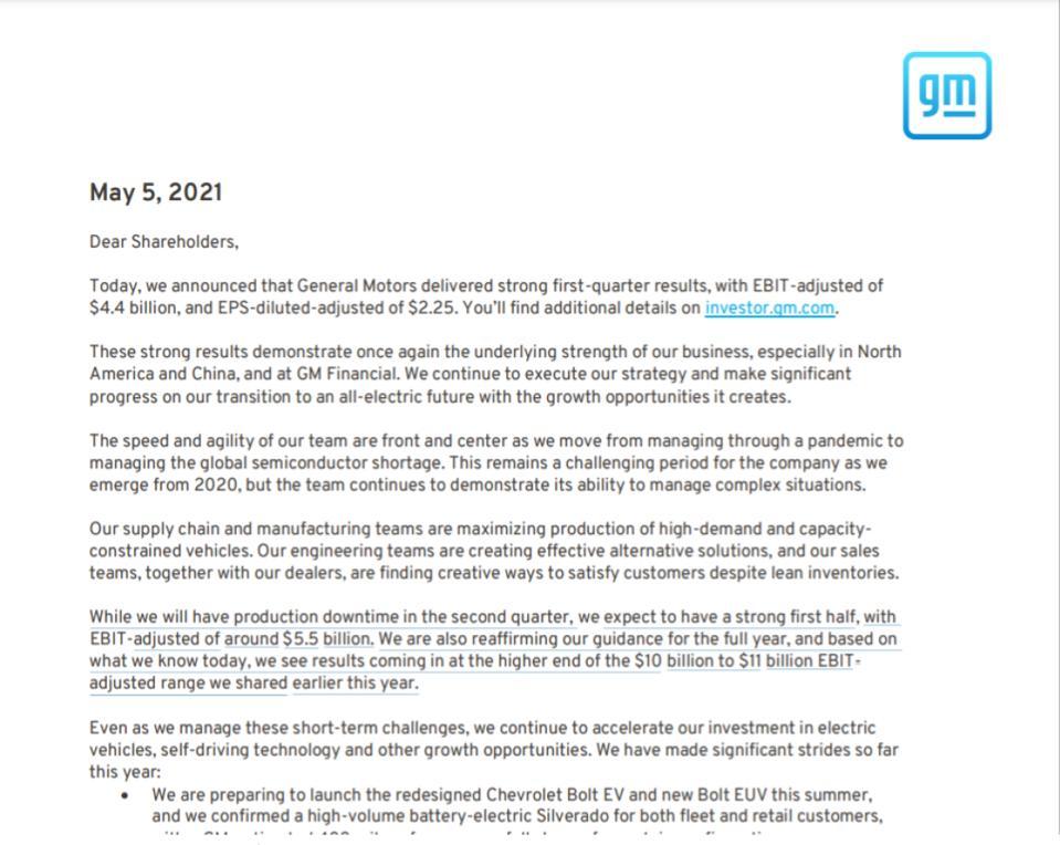 Barra reaffirmed GM's 2021 financial guidance.