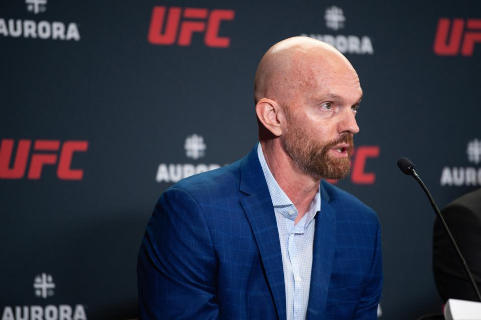 Jeff Novitzky, UFC SVP of Athlete Health and Performance interacts with media during the UFC - Aurora partnership press conference at the UFC APEX on July 24, 2019 in Las Vegas, Nevada.