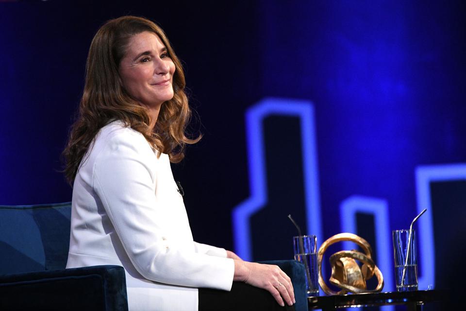 Melinda Gates habla en el escenario en SuperSoul Conversations de Oprah en PlayStation Theatre el 5 de febrero en la ciudad de Nueva York.