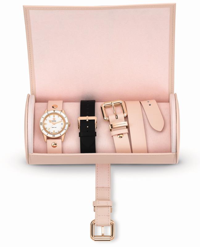 Rado Marina Hoermanseder Captain Cook timepiece in leather case.
