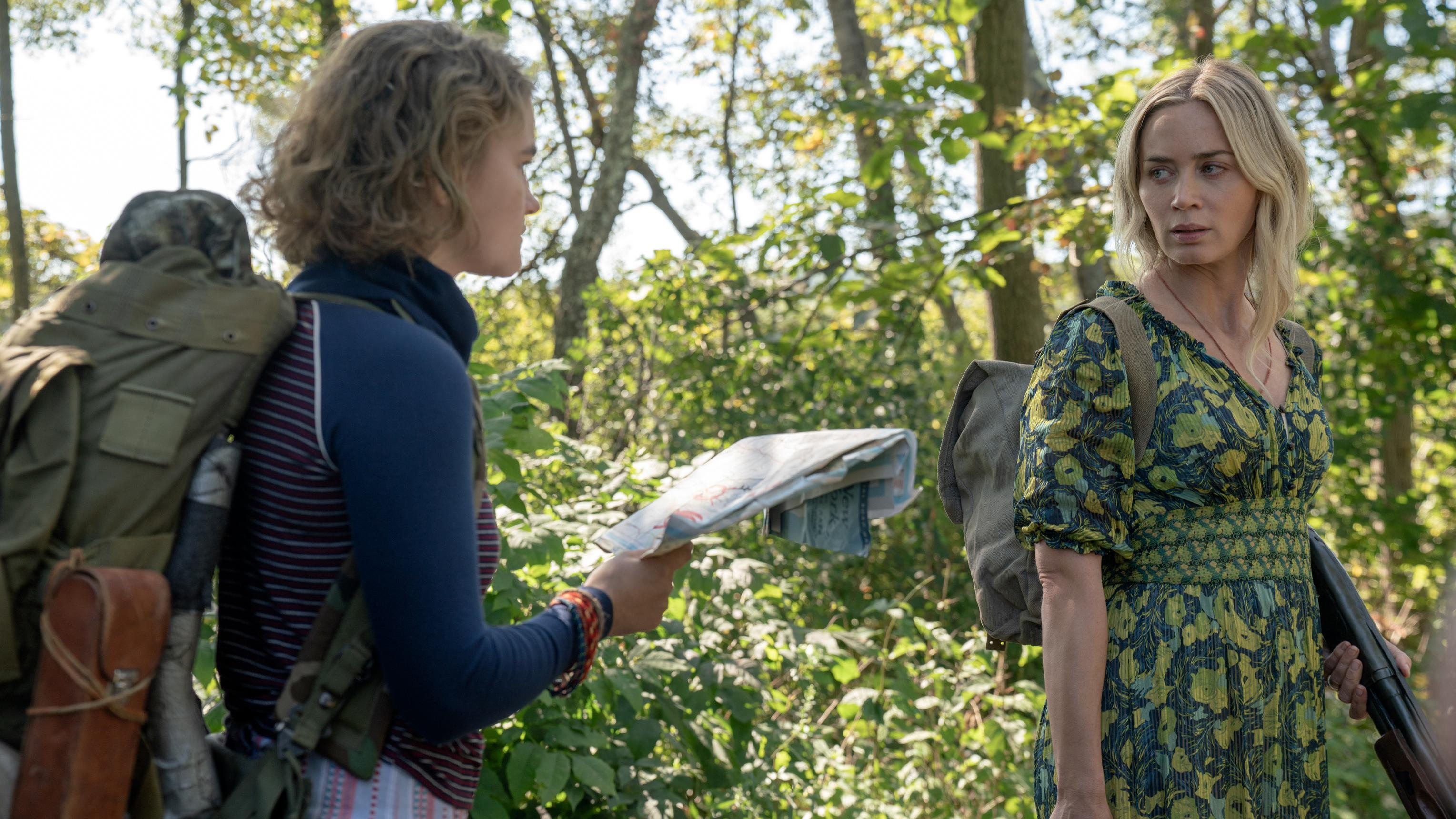 """Regan (Millicent Simmonds), left, and Evelyn (Emily Blunt) brave the unknown in ″A Quiet Place Part II."""""""