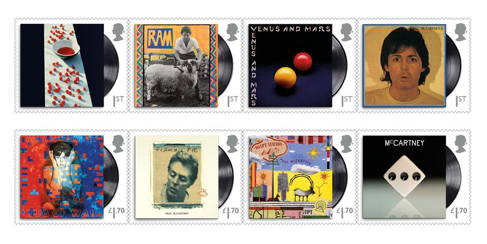 Royal Mail is celebrating the music of Paul McCartney through eight album cover stamps.