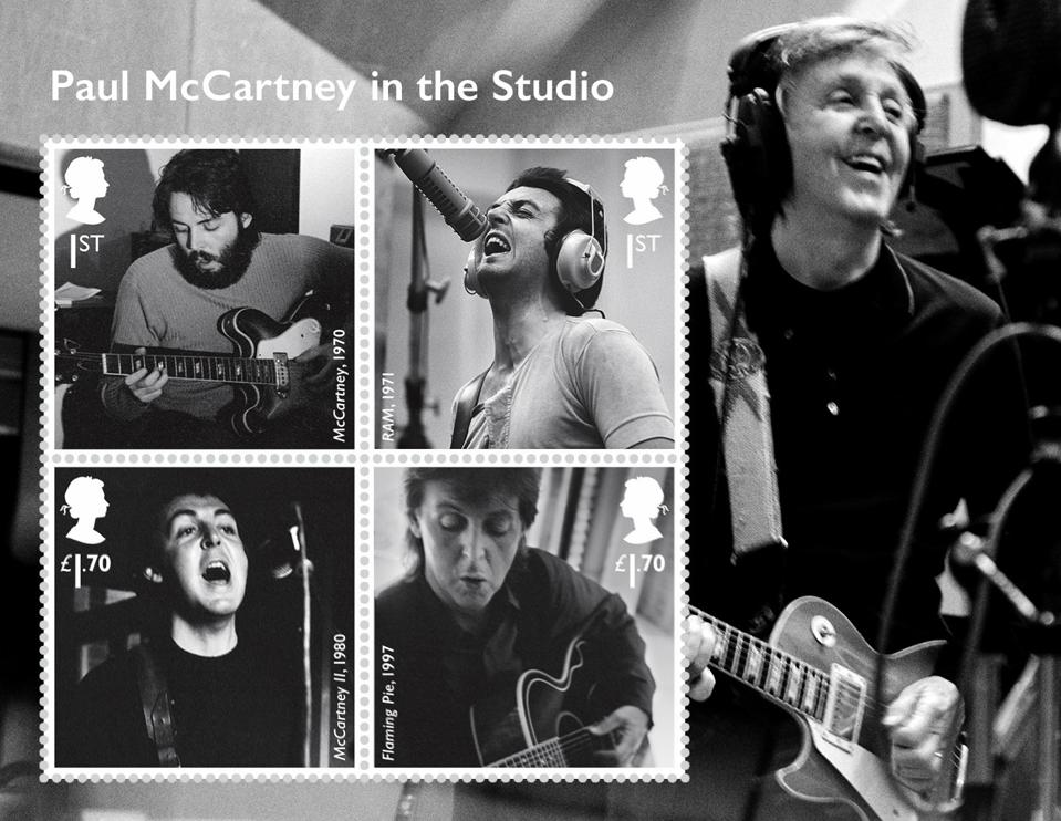 A Royal Mail miniature sheet of four stamps featuring Paul McCartney in the studio.