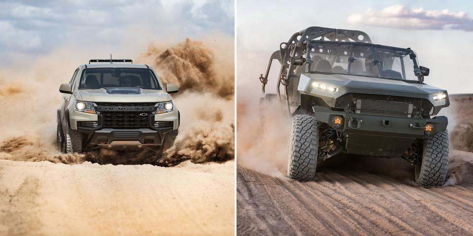 The ISV's Chevy Colorado ZR2 pickup roots are obvious in this side by side comparison.