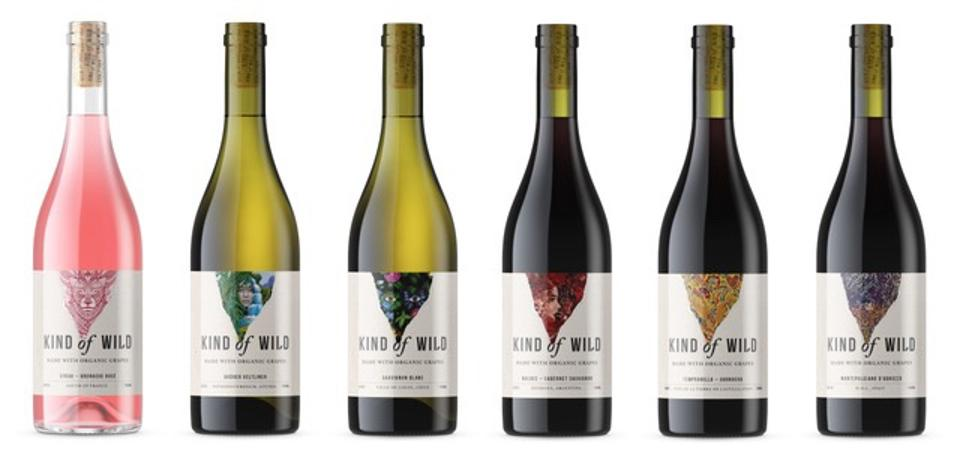 Six bottles of organic and vegan wine that comprise Kind of Wild's initial offering.
