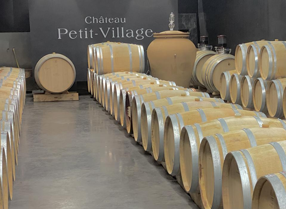 Château Petit-Village cellar and barrels, Pomerol, Bordeaux