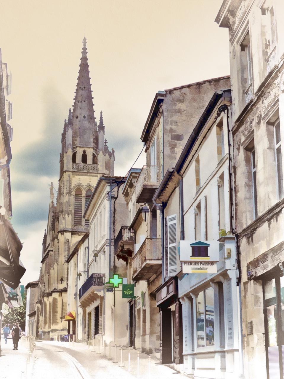 Cadillac village and church steeple, Bordeaux, France