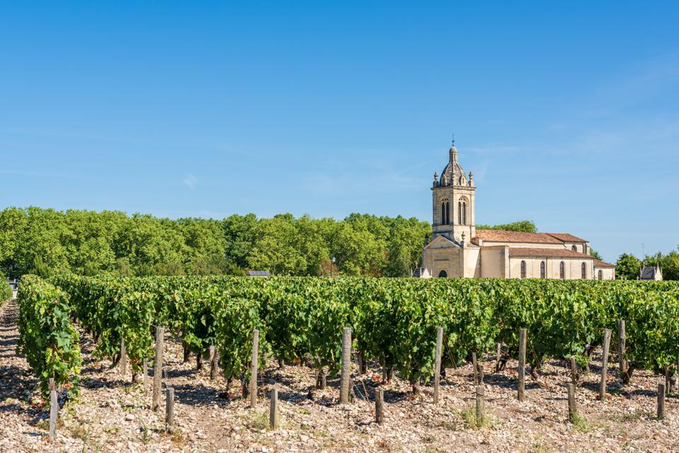 Vineyard and church of Margaux, in the Medoc area, near Bordeaux (France)