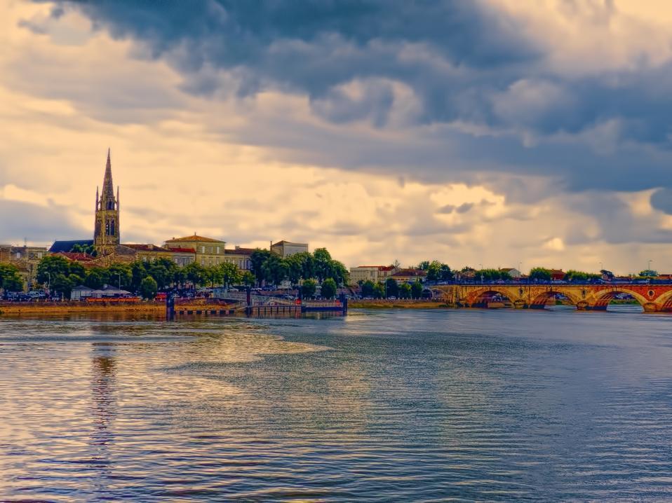 Libourne city on the Dordogne River, Bordeaux, France