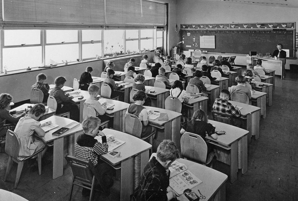 Racially segregated class of white American school children, c.1967