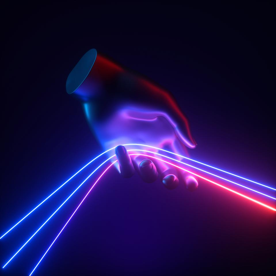 3d render, abstract blue red neon light concept, artificial hand holds glowing lines, isolated on dark background. Mannequin body part pulls colorful strings