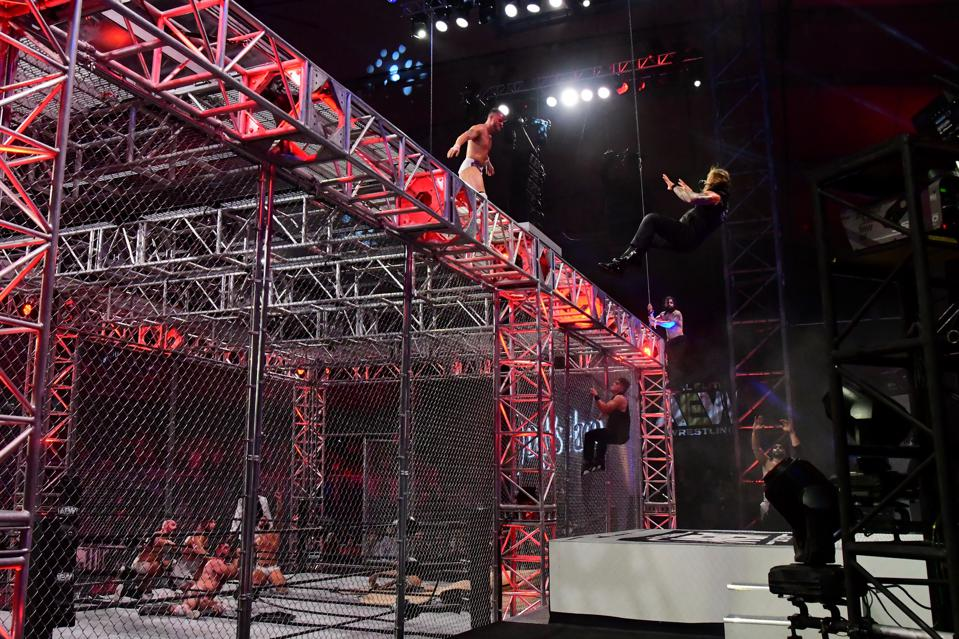 MJF tosses Chris Jericho off the top of a cage in a spot that was mocked on social media.