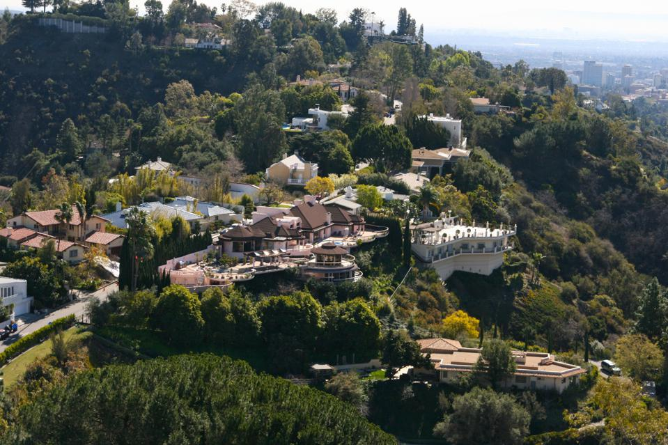Overhead Mansions in Beverly Hills Aerial View