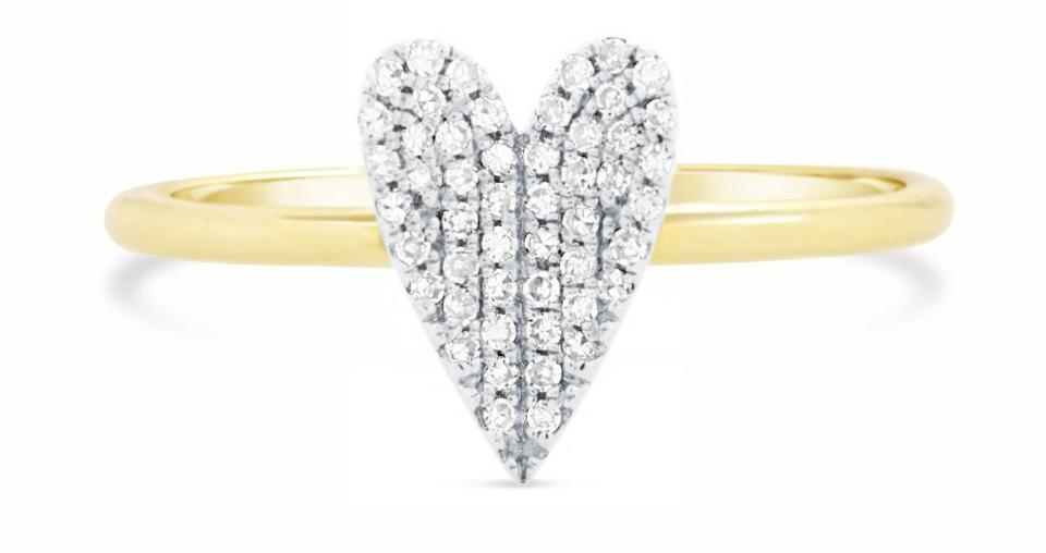 14k solid gold - Diamond Heart Ring