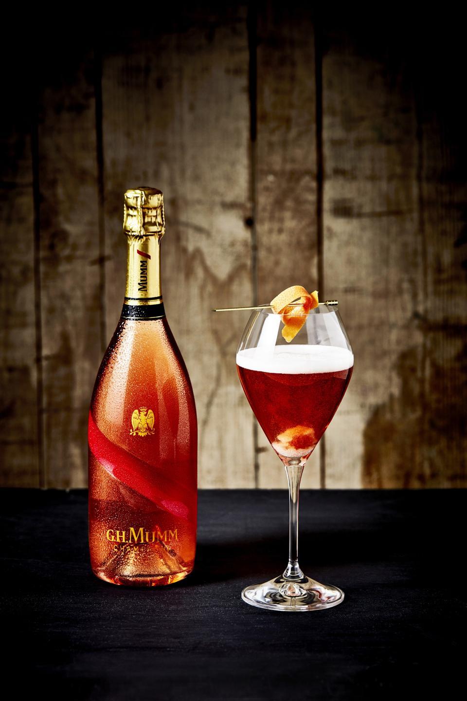 G.H. Mumm Grand Cordon rosé wine makes a great cocktail.