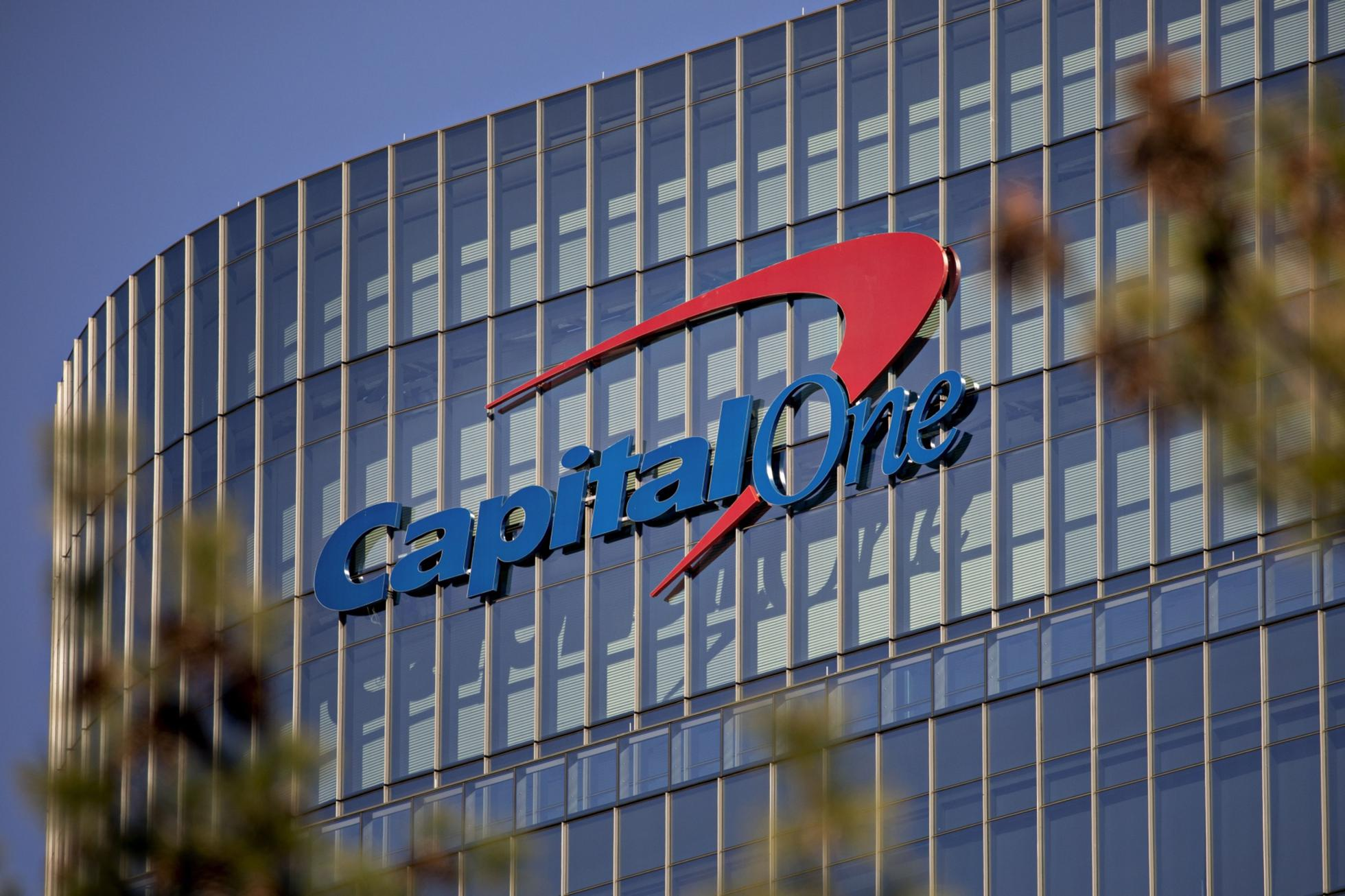 Sign on Capital One building in McLean, Virginia.