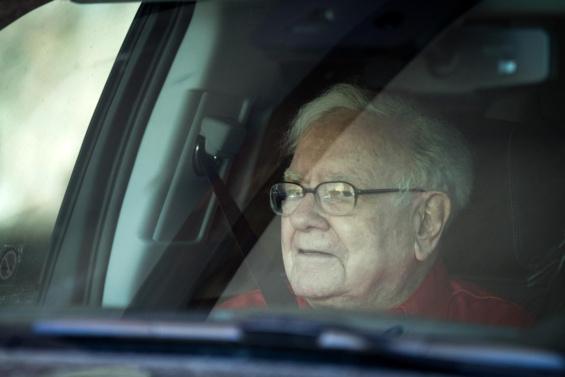Warren Buffett in a car