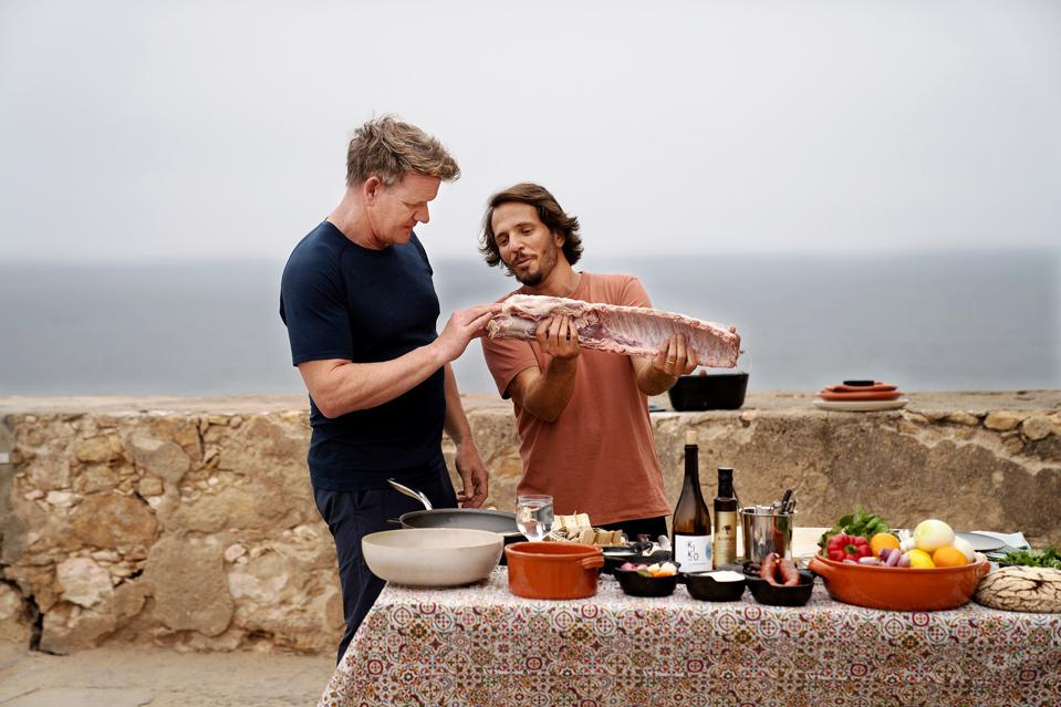 Gordon Ramsay and Chef Kiko Martins with a cut of pork during the final cook.