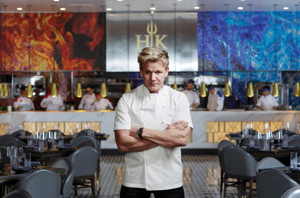 Chef Gordon Ramsay at his Hells Kitchen restaurant in Las Vegas