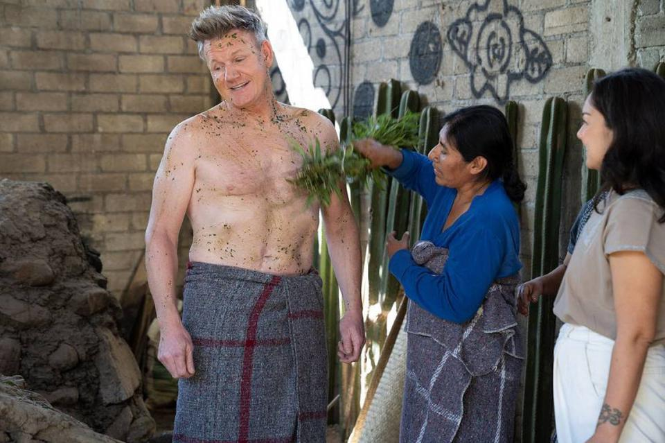 Gordon Ramsey in Mexico partaking in a spiritual cleansing.
