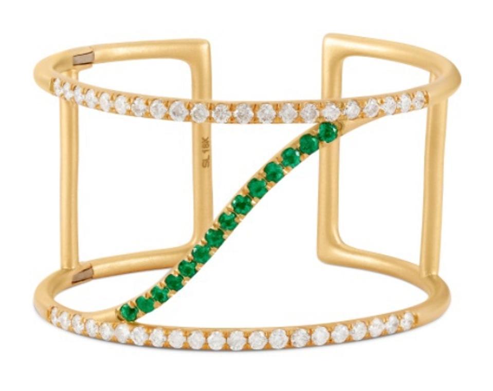 Sandy Leong x Gemfields Emerald and Diamond Sol Cuff, featuring Gemfields Zambian Emeralds