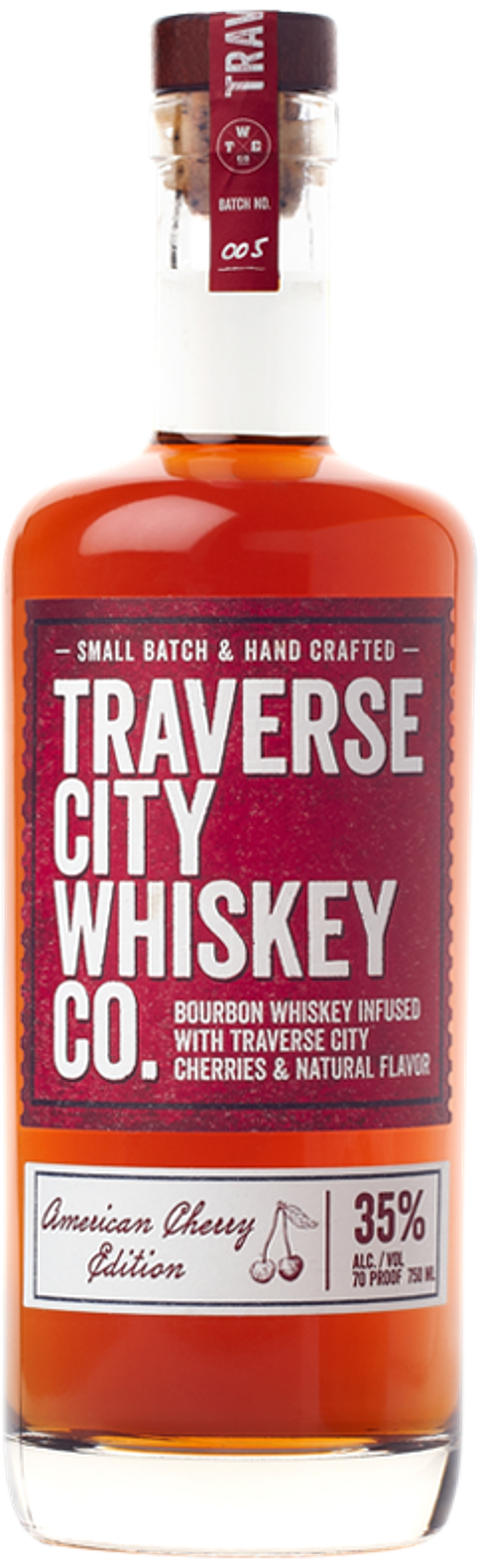 A bottle of American Cherry Edition bourbon.