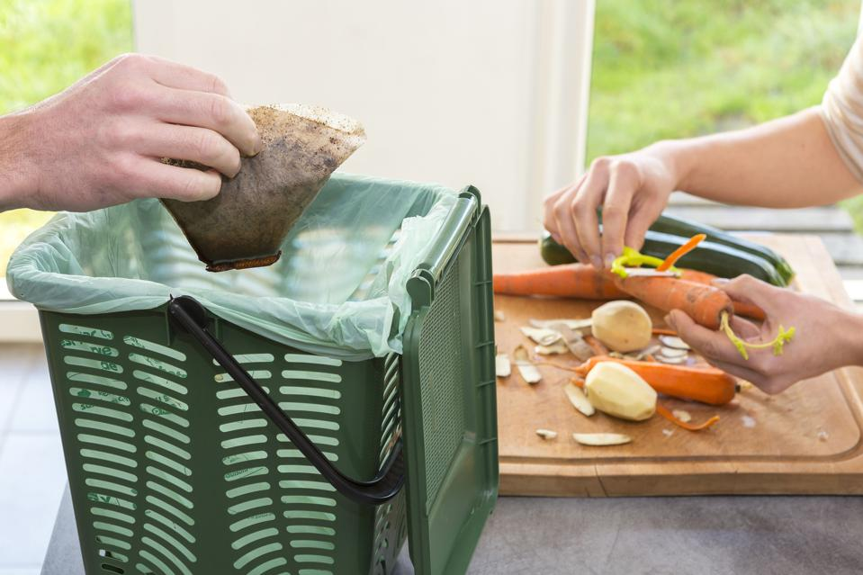 Composting of household waste.