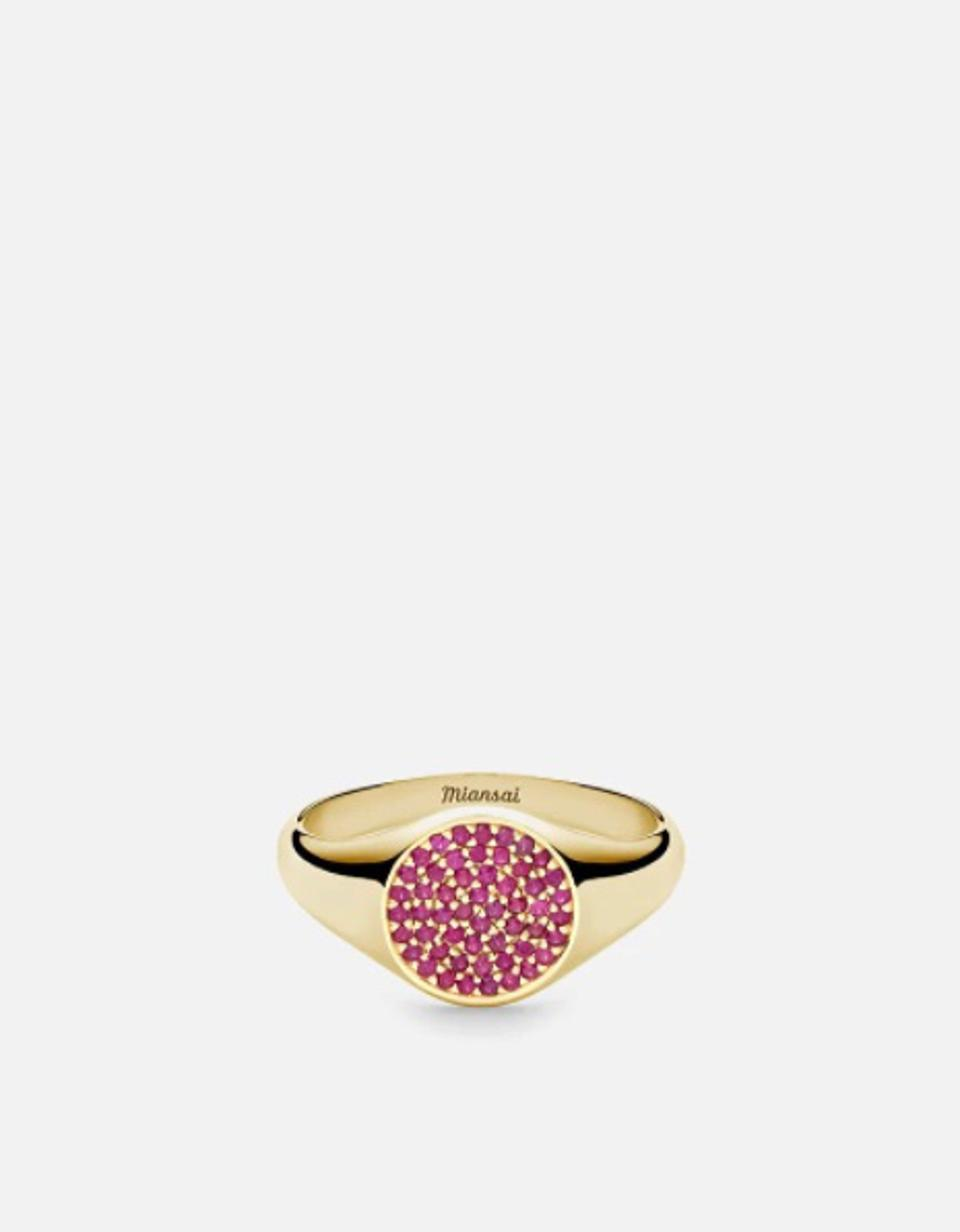 Miansai Horizon Signet Ring in 14k Polished Gold and Ruby