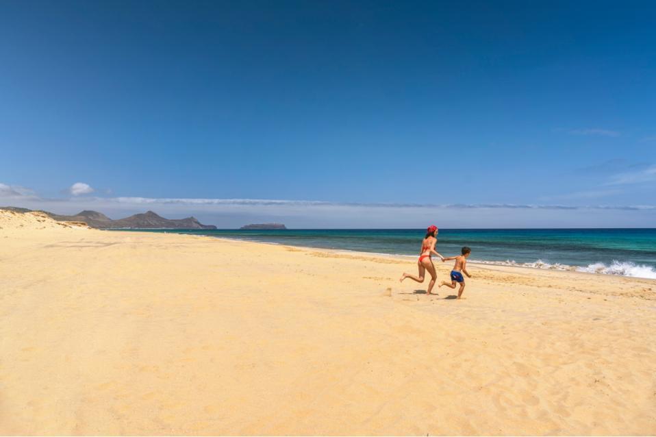 A sandy beach in Porto Santo, Madeira Islands, Portugal.